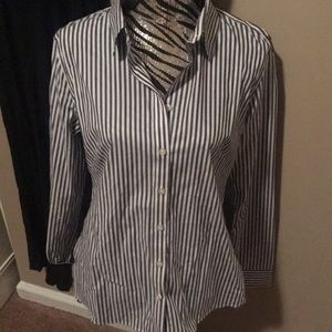 Banana Republic gray stripe shirt size 14